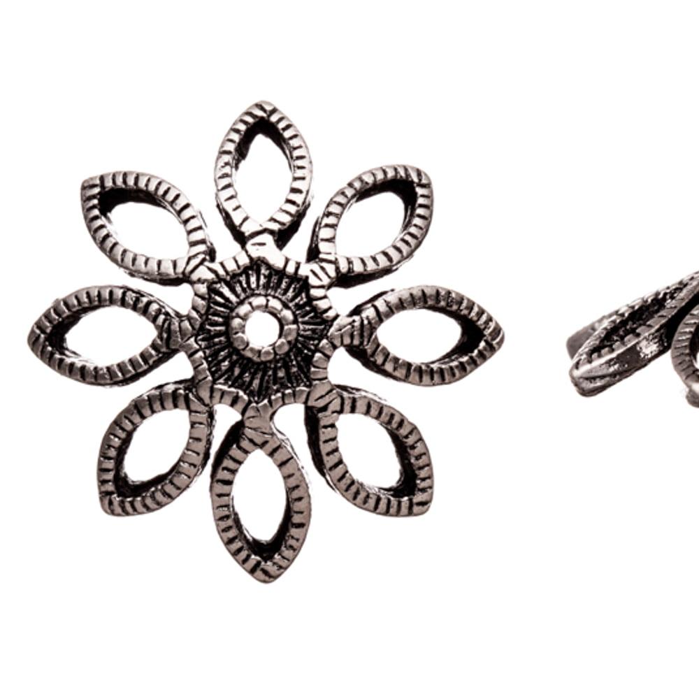 Large Bead Cap, Marquise Petals Antique Silver-Plated Bead Cap Fits 20-22mm Beads 20x20mm Sold per pkg of 10pcs per pack