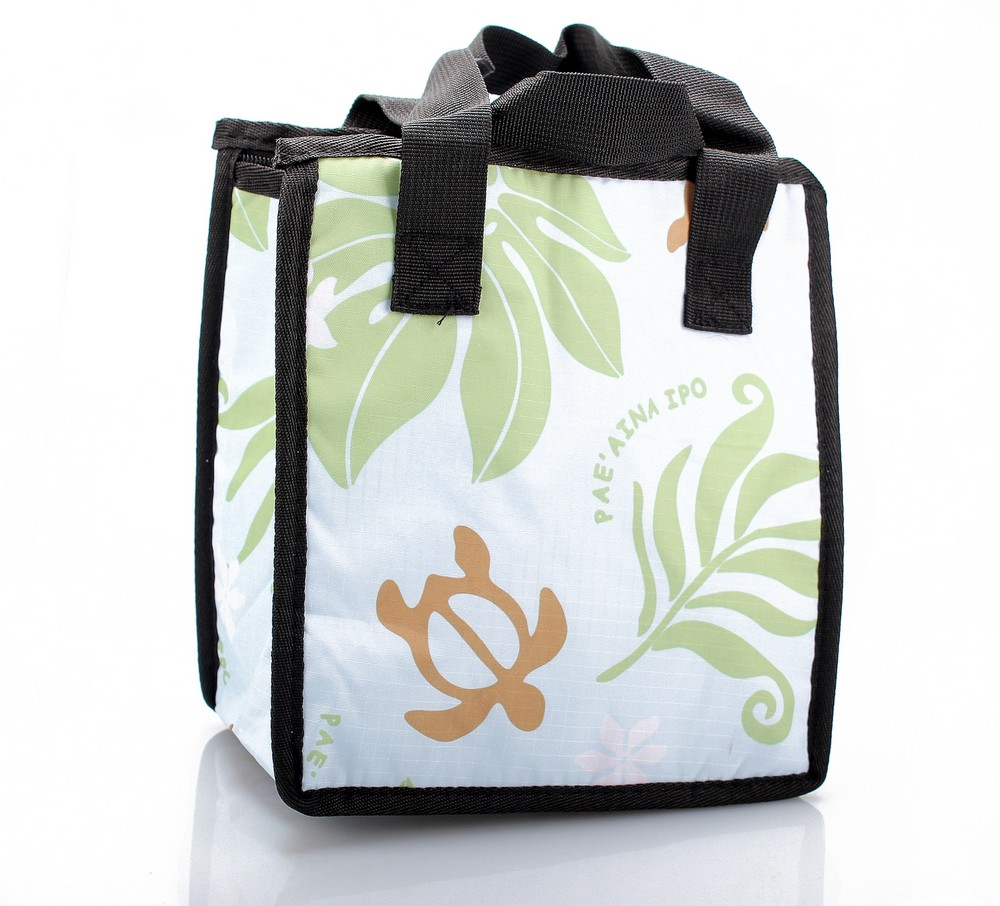 Hawaiian Print Thermal Insulated Zipper Lunch Bag Turtle and Leaf in Blue