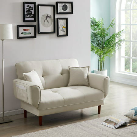 Sleeper Sofa, Modern Convertible Sleeper Sofa with 2 Pillows, Adjustable Backrest and Arms, Twin Size, Beige