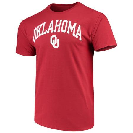 Men's Russell Crimson Oklahoma Sooners Crew Core Print T-Shirt](Oklahoma Mayor Husband Halloween)