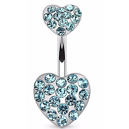 Belly Button Ring Navel Double Paved Gem Heart Body Jewelry 14g