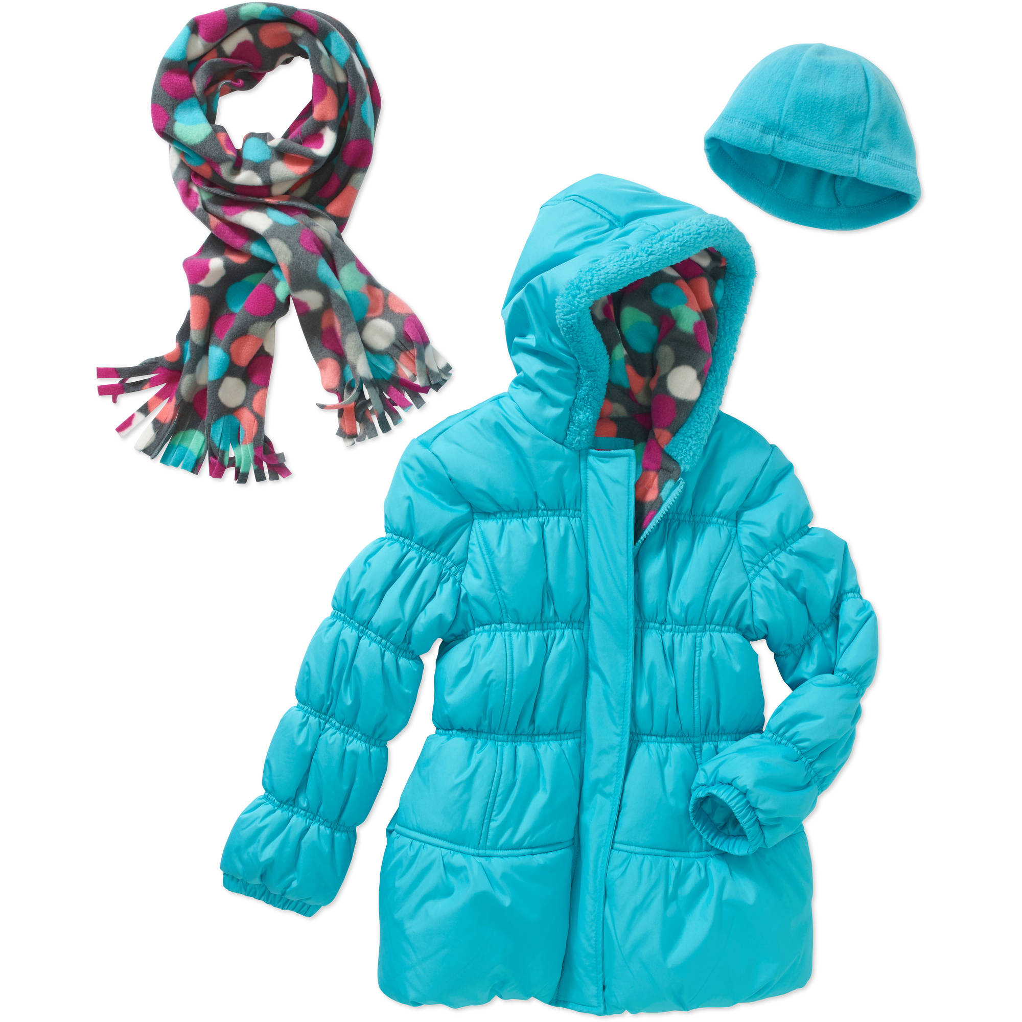 Pink Platinum Girls' Puffer Jacket with Faux Fur Trim Hood, Pockets, and Scarf