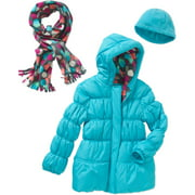 Girls' Puffer Jacket with Faux Fur Trim Hood, Pockets, and Scarf
