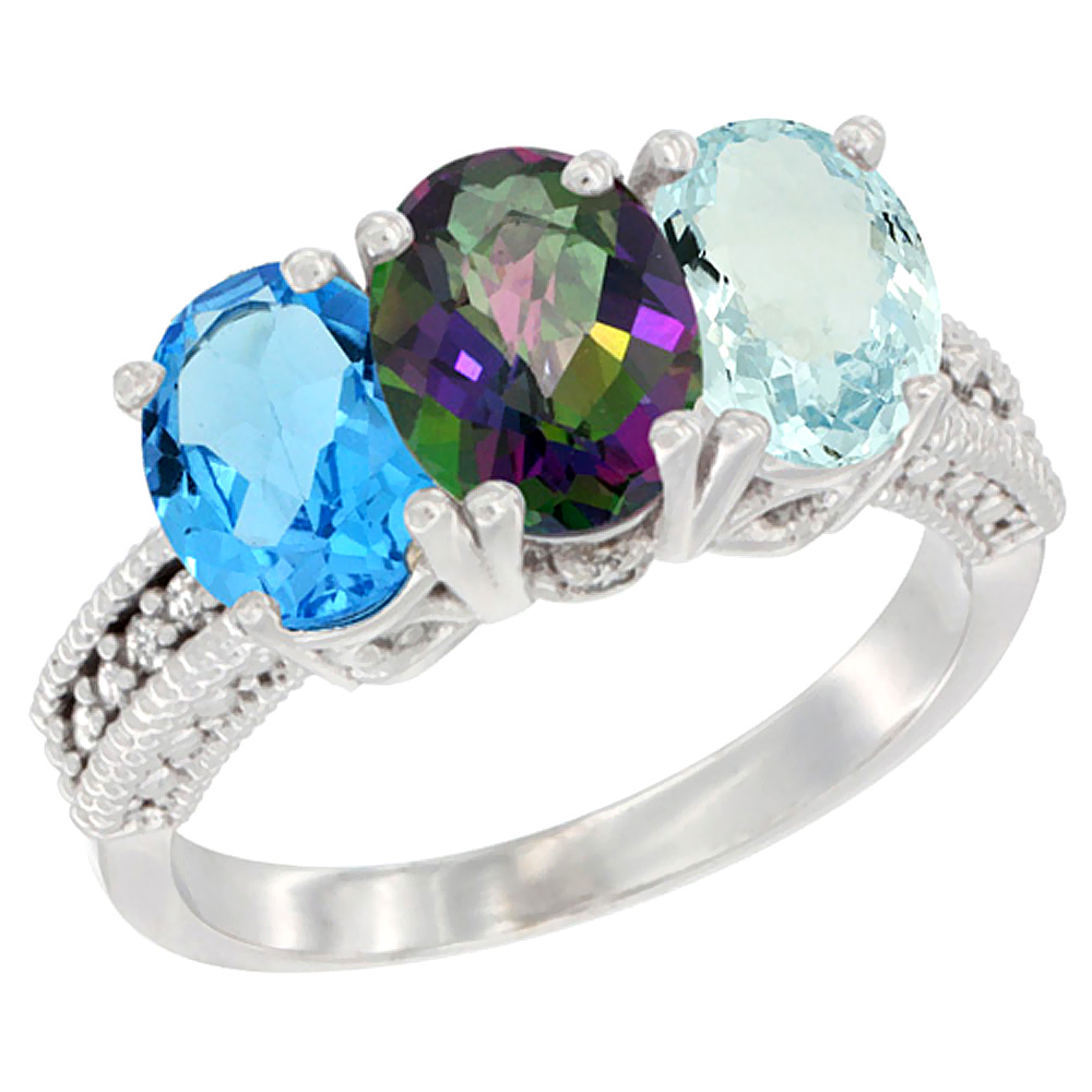 10K White Gold Natural Swiss Blue Topaz, Mystic Topaz & Aquamarine Ring 3-Stone Oval 7x5 mm Diamond Accent, sizes 5 10 by WorldJewels