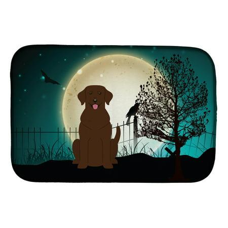 Halloween Scary Chocolate Labrador Dish Drying Mat - Labrador Halloween Pics