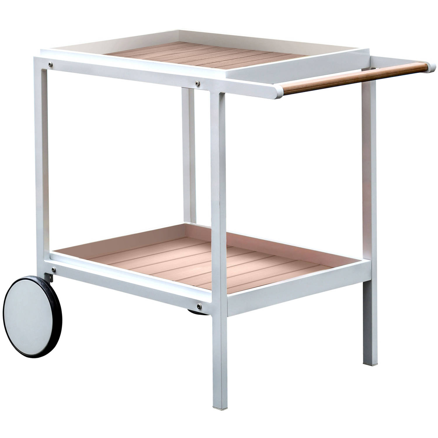 Furniture of America Leland Patio Serving Cart, Oak and White