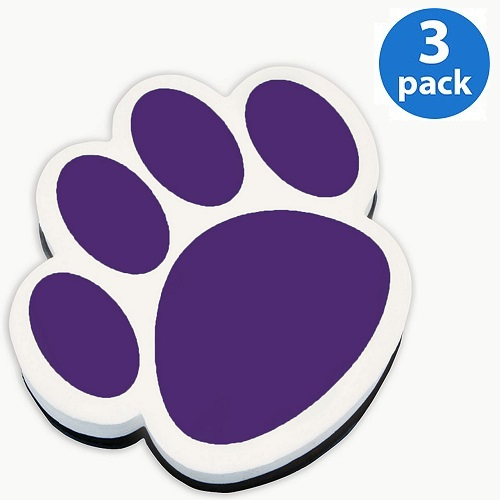 (3 Pack) Ashley, ASH10005, Paw Shaped Magnetic Whiteboard Eraser, 1 Each, Purple