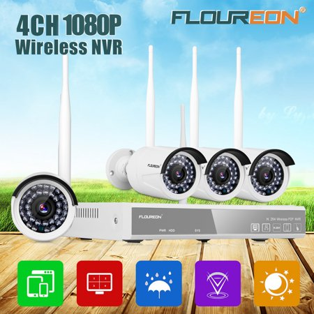 FLOUREON Wireless Security Cameras System-1080p 4CH HDMI NVR with (4) 720P HD 1.0MP Weatherproof Outdoor Indoor IP Cameras with 65ft Night Vision, Motion Detection, No Hard Drive