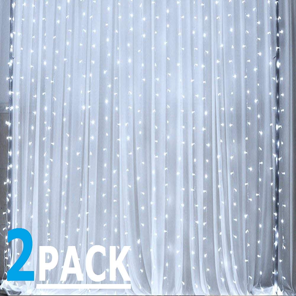 TORCHSTAR 2 Pack 9.8ft x 9.8ft LED Curtain Lights, Starry Christmas String Light, Indoor Decoration for Festival, Wedding, Party, Living Room, Bedroom, Daylight