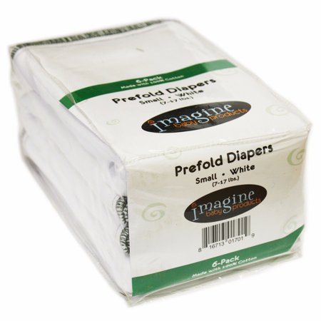 Indian Prefold Cloth Diapers - Imagine 6 Pack White Indian Cotton Twill Smart Fit Prefold Cloth Diapers, White, Small,