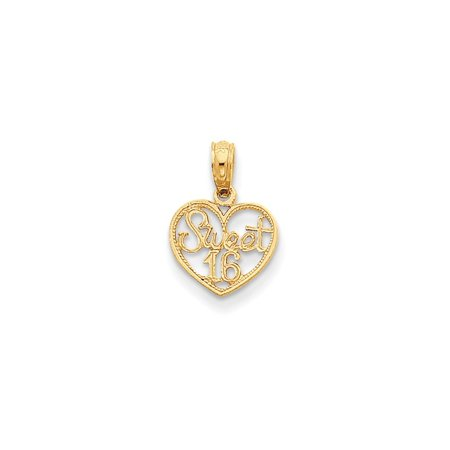 11mm 16in Strand (14K Yellow Gold Sweet 16in Heart Pendant (15mm x 11mm) )