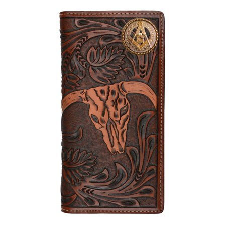 Custom Masonic Square and Compasses Cow Skull Long Leather Wallet
