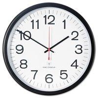"""Universal Deluxe 13 1/2"""" Indoor/Outdoor Atomic Clock, 13.5"""" Overall Diameter, Black Case, 1 AA (sold separately) -UNV10417"""