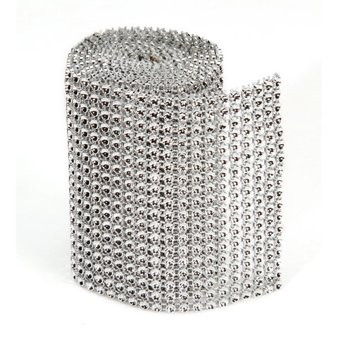 Bling 18Line Mesh Ribbon Silver 3Mmx1Yd Packaged