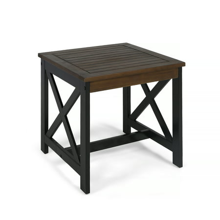 Easton Outdoor Farmhouse Acacia Wood End Table, Dark Brown, Black