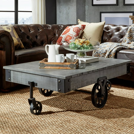 Weston Home Metal Supports Cocktail Table with Functional Wheels, - Gray Cocktail
