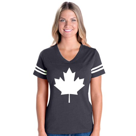 Canada White Maple Leaf Canadian Women's Football V-Neck Fine Jersey Tee