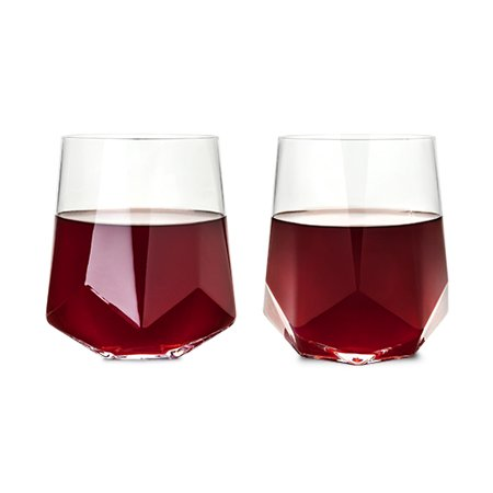 Raye™ Faceted Crystal Wine Glass (Set of 2) by Viski (Engraved Crystal Wine Glasses)
