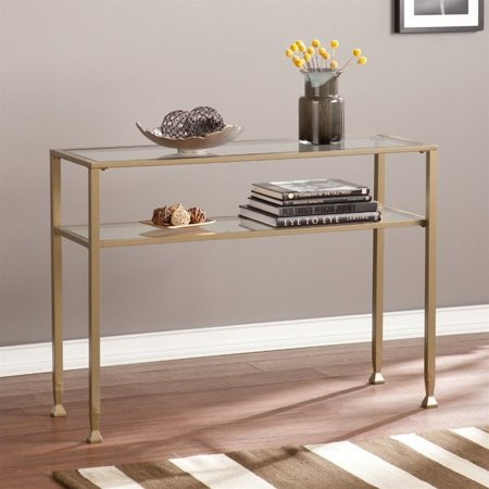 Southern Enterprises Metal Glass Console Table In Matte Khaki