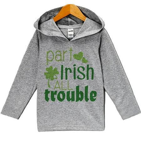 Custom Party Shop Boy's St. Patricks Day Hoodie Pullover - Grey and Green / 6 (Custom Hoodie)