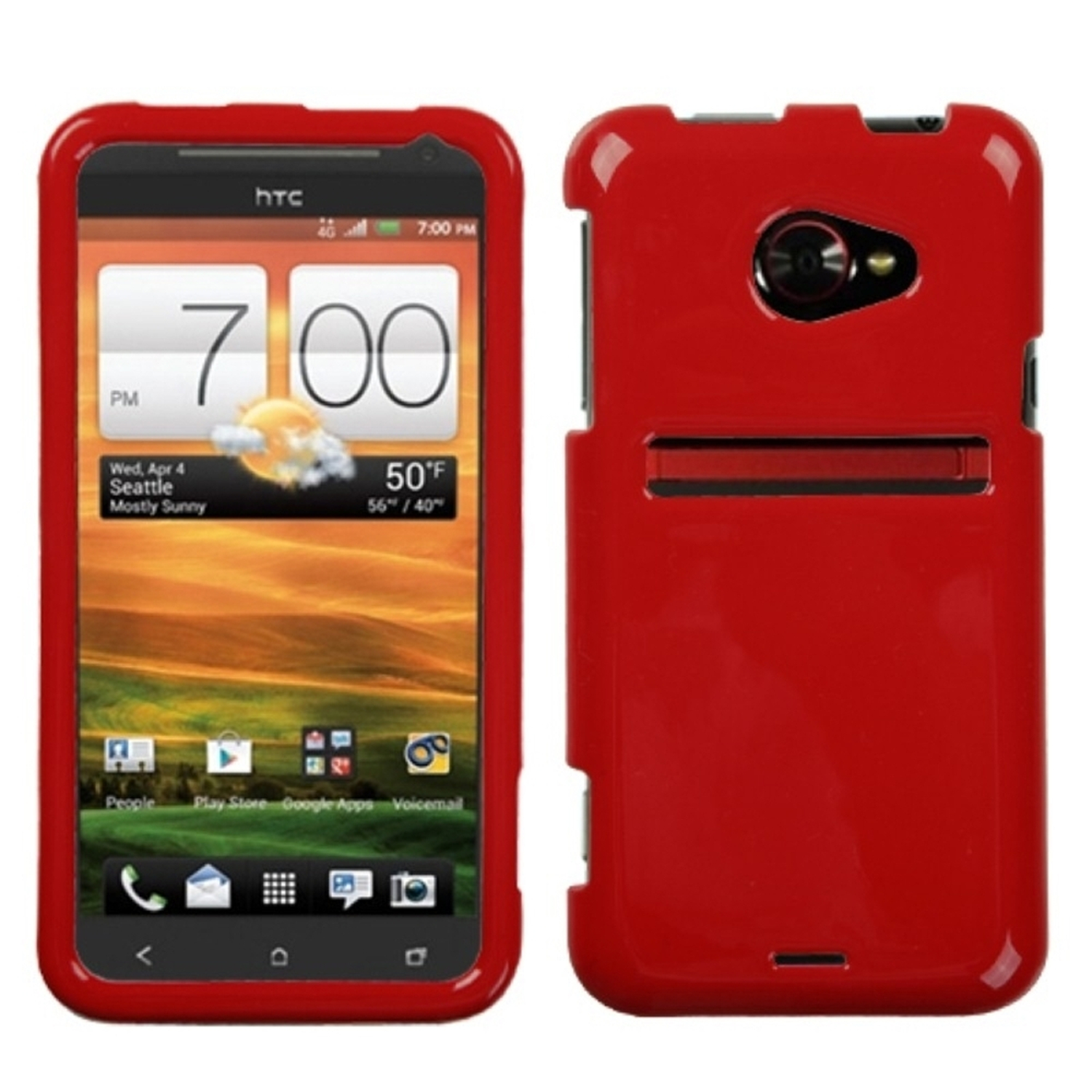 Insten Solid Flaming Red Phone Case for HTC: EVO 4G LTE