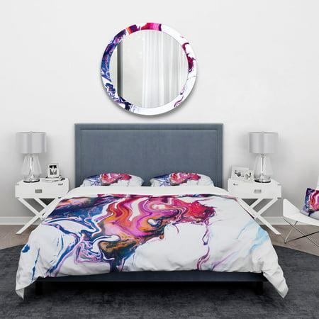 DESIGN ART Designart 'Purple, Pink and Blue Hand Painted Marble Composition' Mid-Century Modern Bedding Set - Duvet Cover & Shams ()