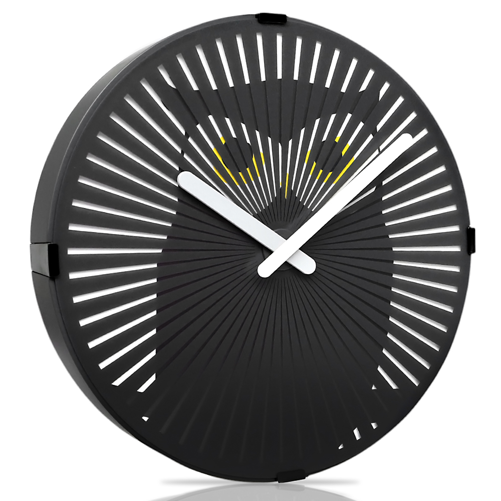 Betus [Non-ticking] 12 Inches Decorative Wall Clock Novelty Black Round Clock for Living Room Battery Powered Walking... by Betus