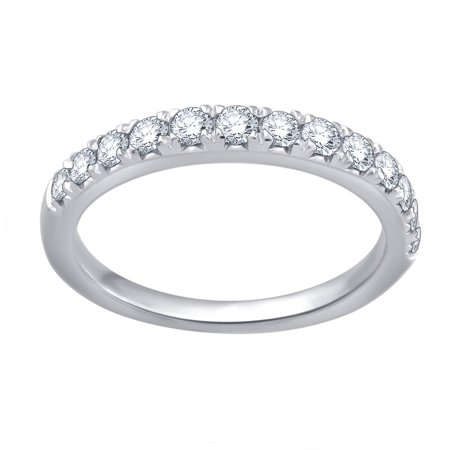 1/2 Carat T.W. Round Diamond 10kt White Gold Wedding Band, (Gold Half Round Band)