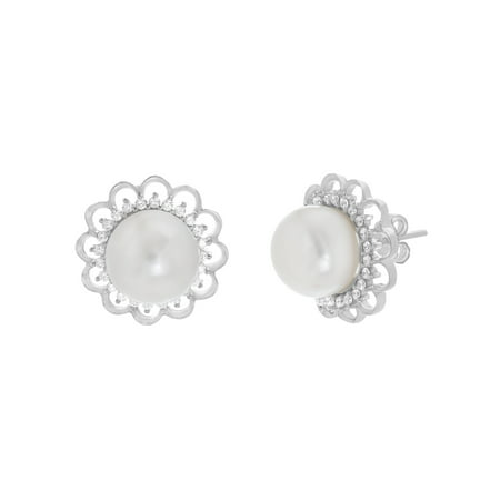 Sterling Silver Pearl W/ Cubic Zirconia Floral Design Post