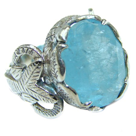 Antique Design Blue Aquamarine   .925  Sterling Silver handmade ring s. 6 by SilverRush Style 925 Sterling Silver Handmade Antique
