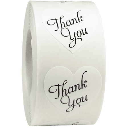 Thank You Sticker (Thank You Stickers Heart Shape White Labels 1 Inch Hearts 500 Adhesive)