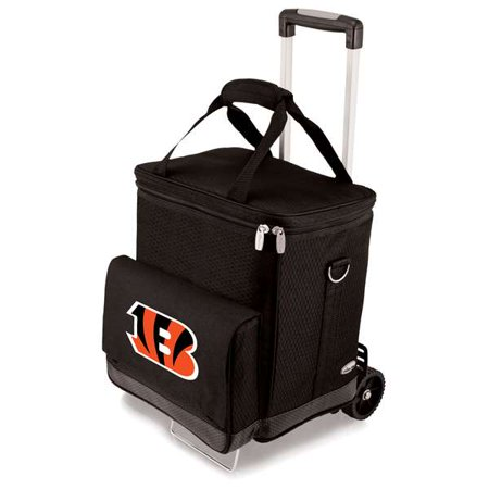 Digital Electric Trolley - Picnic Time Cellar with Trolley, Black Cincinnati Bengals Digital Print