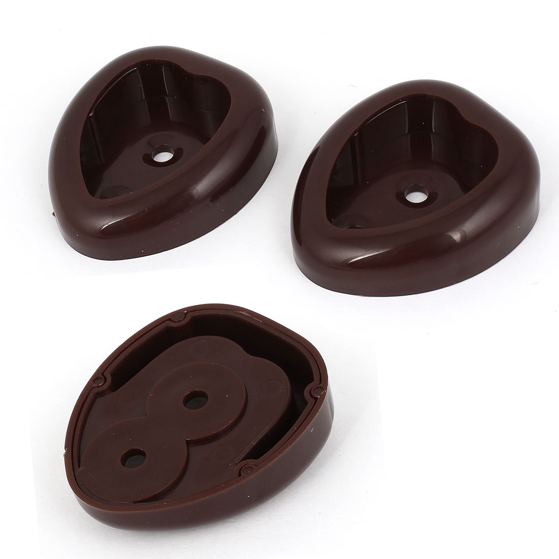 Unique Bargains Coffee Color Plastic Closet Clothes Coat Rod Pole Holder Socket Bracket 3pcs