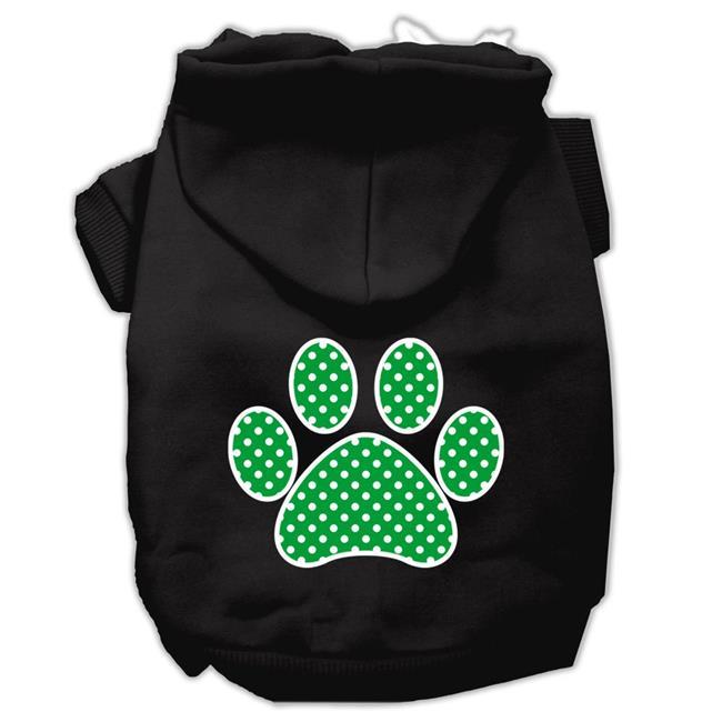 Green Swiss Dot Paw Screen Print Pet Hoodies Black Size Xxl (18) - image 1 of 1