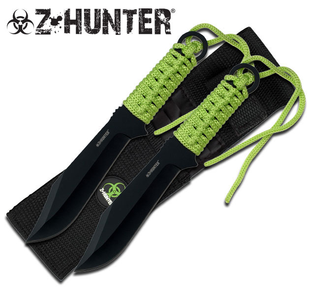 NEW! Z-Hunter Zombie 3-Pc. Black Drop Point Green Paracord Throwing Knife Set
