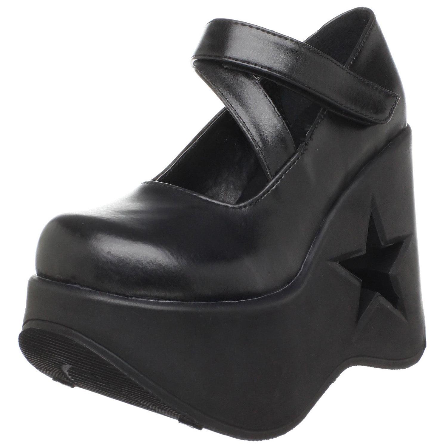 Trendy Goth 5 1 4 Inch Lift Shoe Star Cutout Platform Black Demonia by