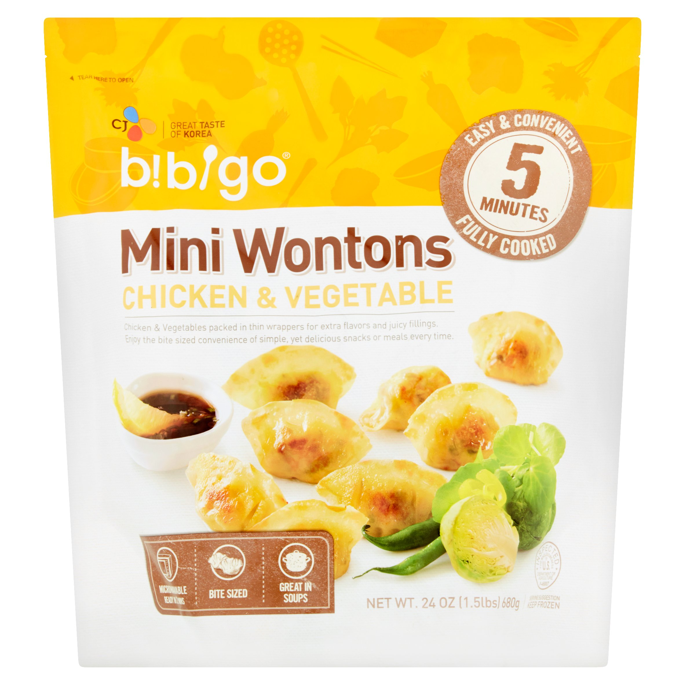 Bibigo Mini Wontons Chicken & Vegetable, 24 oz.