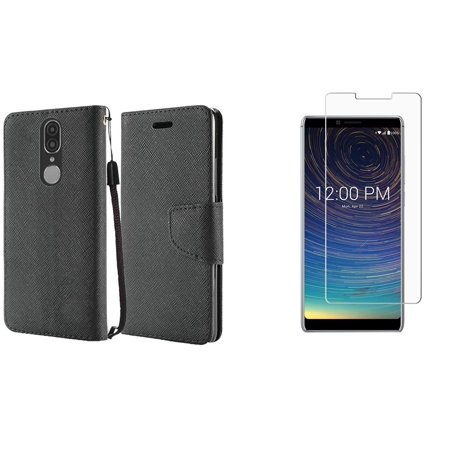 Bemz Bling Wallet Compatible with Coolpad Legacy (2019) Case PU Leather ID Window Card/Money Holder Magnetic Flip Cover (Black), Tempered Glass Screen Protector and Atom Cloth ()