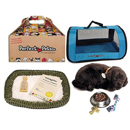 Perfect Petzzz Plush Black Lab Breathing Puppy Dog with Blue Tote For Plush Breathing Pet and Dog Food, Treats, and Chew