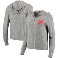 Nebraska Cornhuskers Women's Brushed Super Soft Tri-Blend Full-Zip Hoodie - Heathered Gray