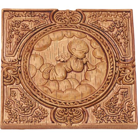 Precious Moments Angel With Trumpet on Right Wood Look Wall Plaque Resin 179108