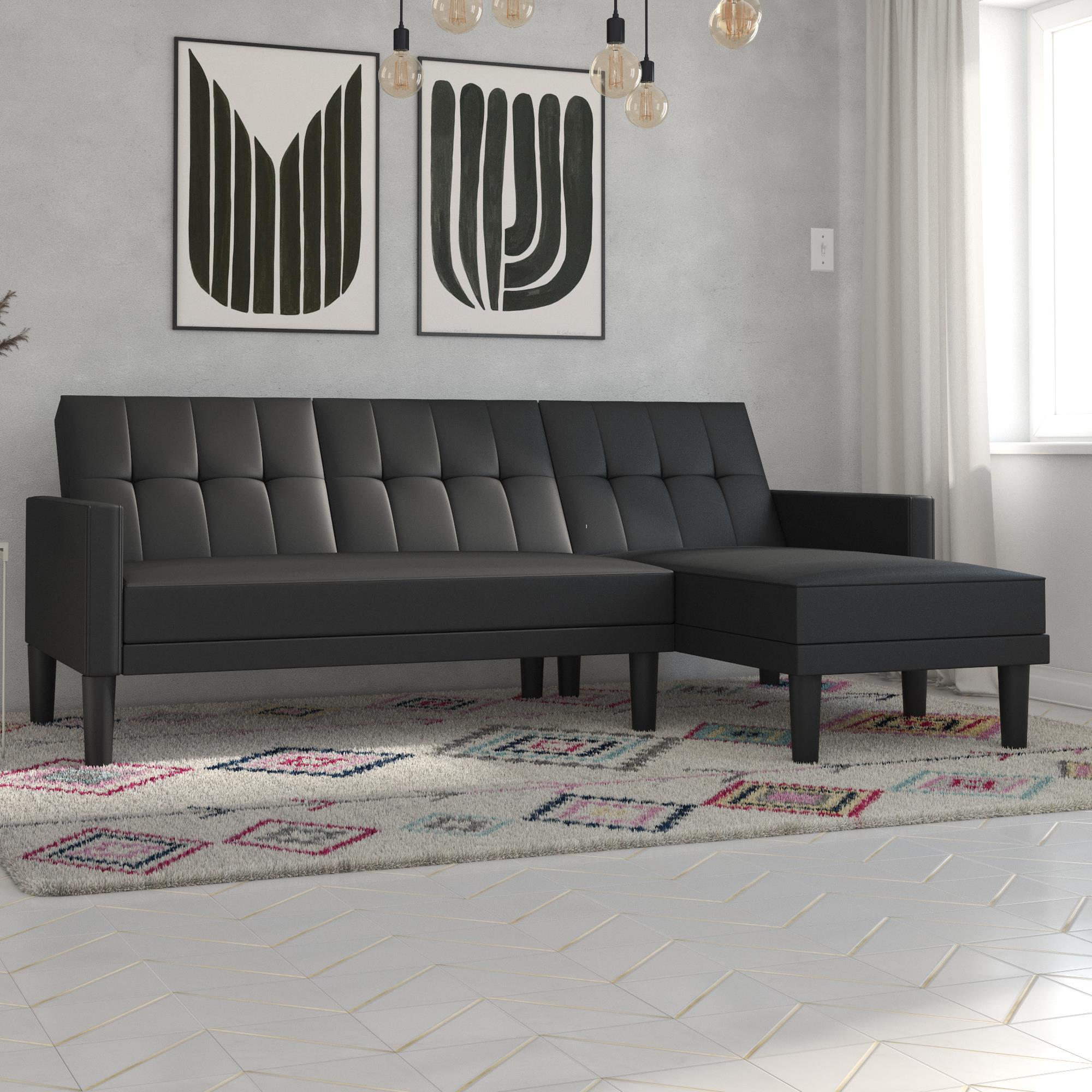 DHP Haven Sectional Futon Sofa Couch, Tufted Design, Multiple Colors