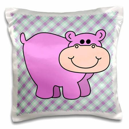 3dRose Cute Little Pink Lavender Hippo Hippopotamus Cartoon - Pillow Case, 16 by 16-inch ()