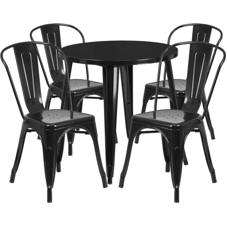 Lancaster Home 30'' Round Metal Indoor-Outdoor Table Set with 4 Cafe Chairs