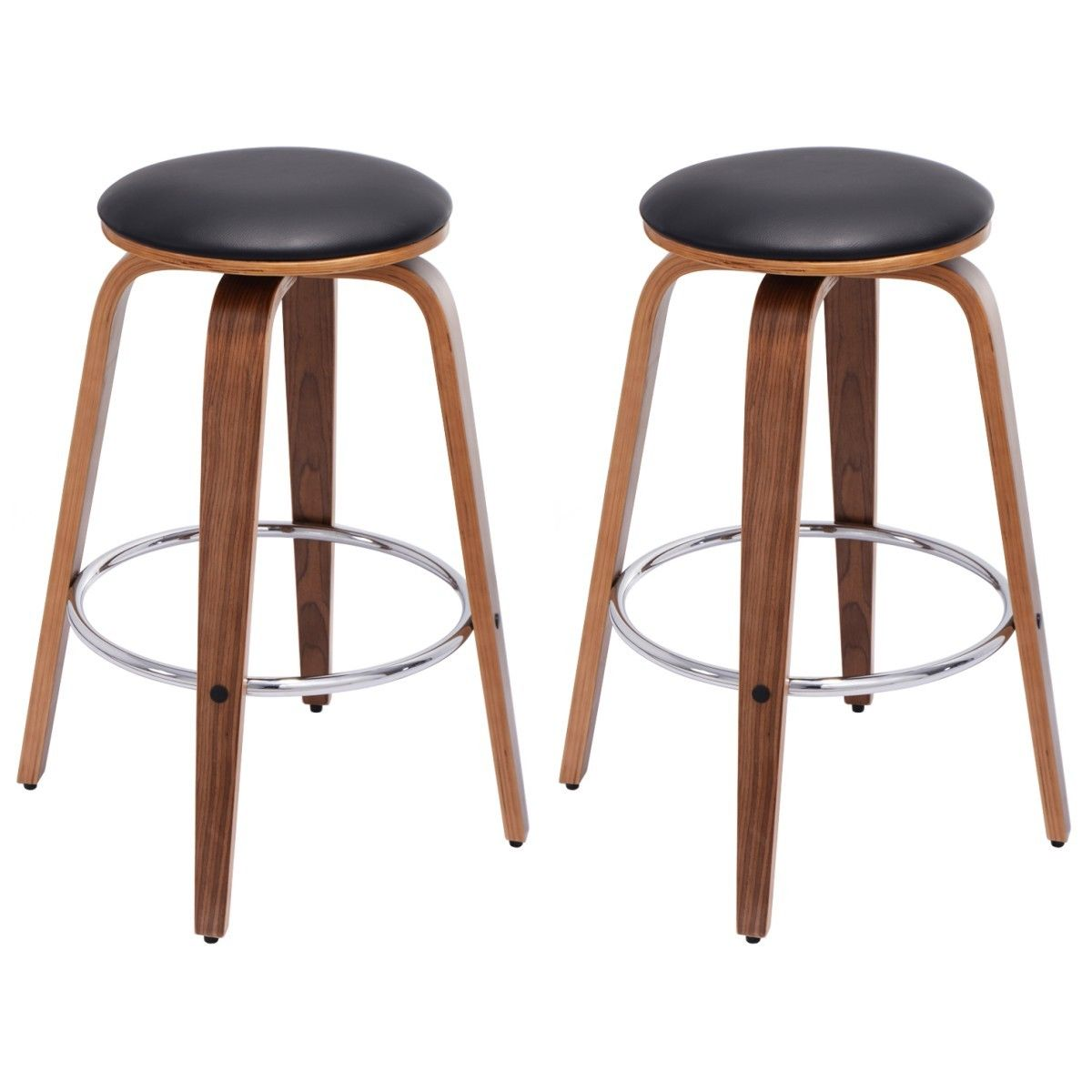Costway Set of 2 Swivel Bentwood Bar Stool PU Leather Modern Bar Stools Bistro Pub Chair by Costway