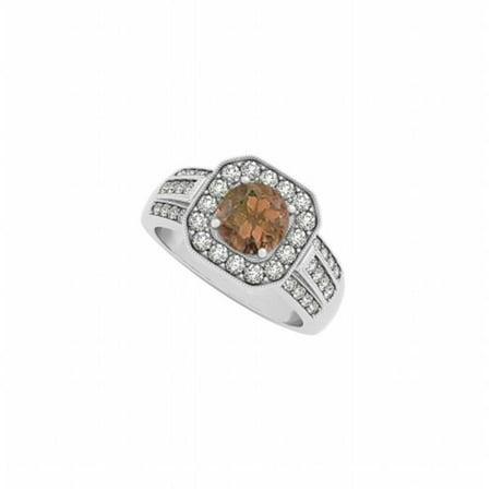 Round Smoky Quartz & Three Rows CZ Square Halo Fashion Ring in 14K White Gold, 16 Stones ()