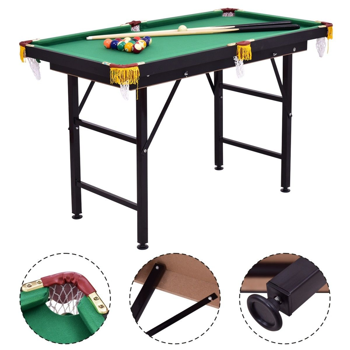 Costway 47'' Pool Table Billiard Table Toys Game Set w 2 Cue Triangle Rack Ball and Chalk