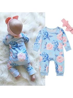 XIAXAIXU Baby Girls Newborn Infant Toddler Long Sleeve Blue Floral Romper Bodysuit Jumpsuit + Headband Clothes 2Pcs Outfit Set