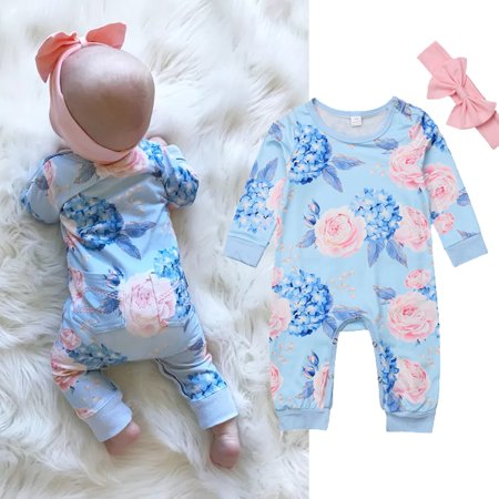 XIAXAIXU Baby Girls Newborn Infant Toddler Long Sleeve Blue Floral Romper Bodysuit Jumpsuit + Headband Clothes 2Pcs Outfit