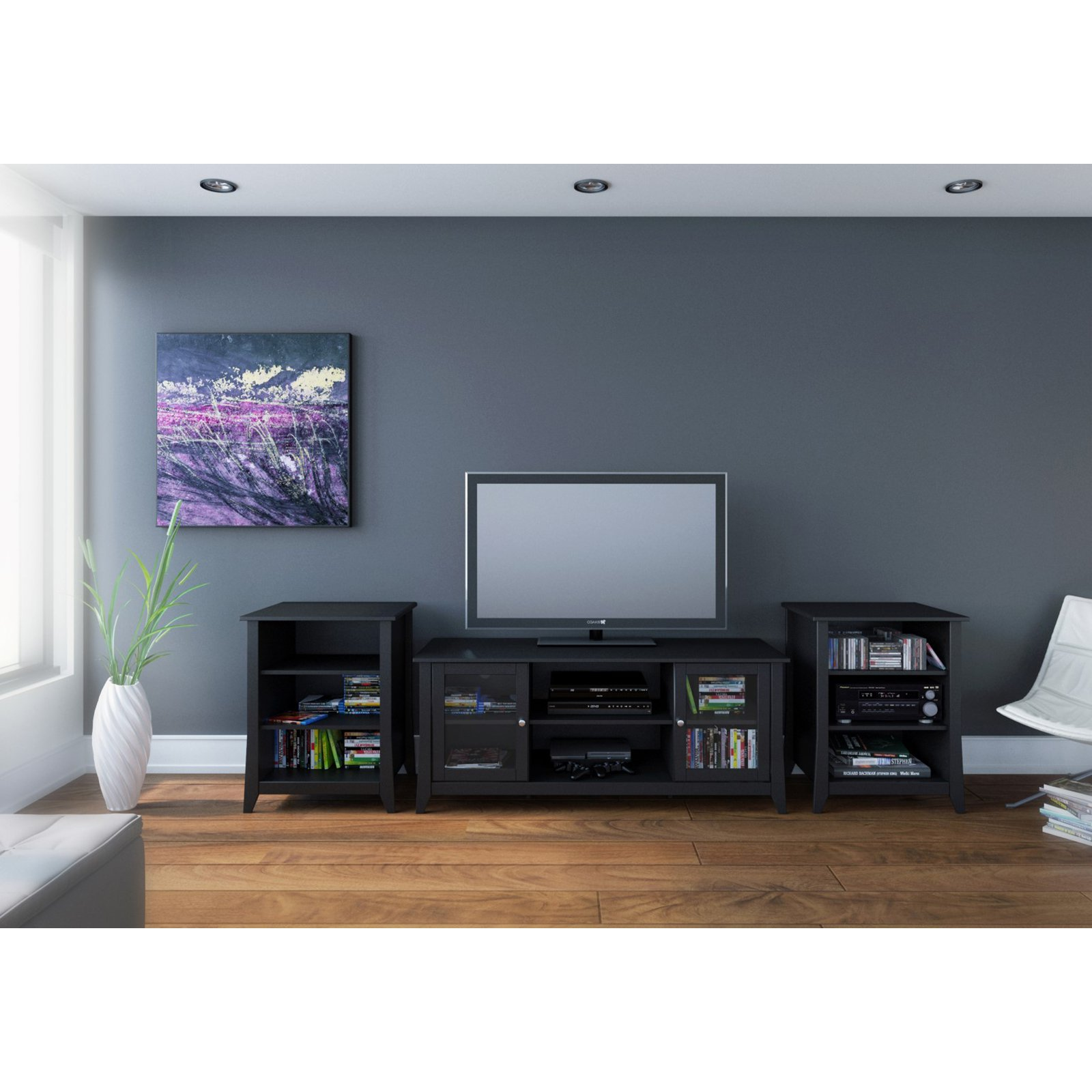 Megalak Finition Tuxedo 58 in. TV Console with Stereo Cabinets - Black